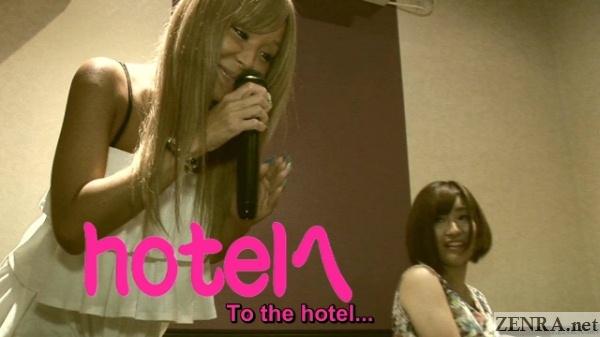 Japanese gyaru sniffs microphone