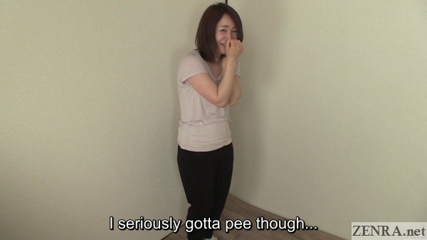 Pee Desperation with petite Japanese woman