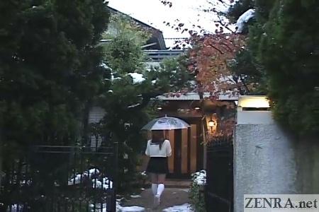 Japanese schoolgirl visits house in winter