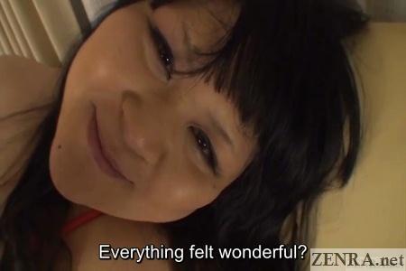 Elated plump Japanese woman