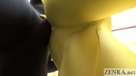 Genital rubbing Zentai style