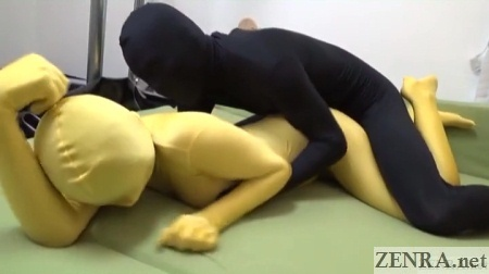 Japanese Zentai couple simulated sex from behind