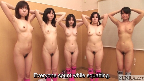 nudist japanese squatting group exercise
