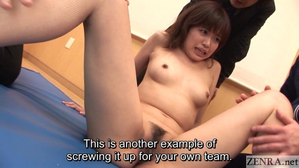 embarrassed and naked spread japanese woman