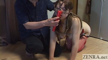 red candle meets japanese woman on all fours