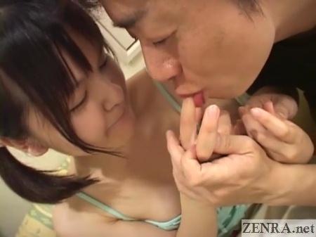 old man licks schoolgirl fingers