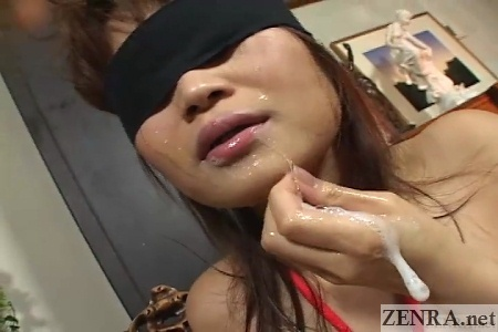 blindfolded japanese av star empties cum from mouth