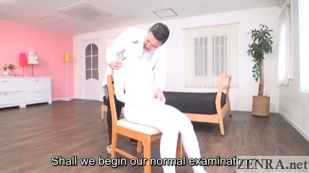 bizarre japanese doctor with patient in full body bandage
