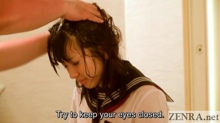 japanese schoolgirl has hair washed