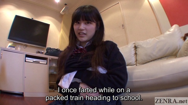 japanese schoolgirl talks about farting on train