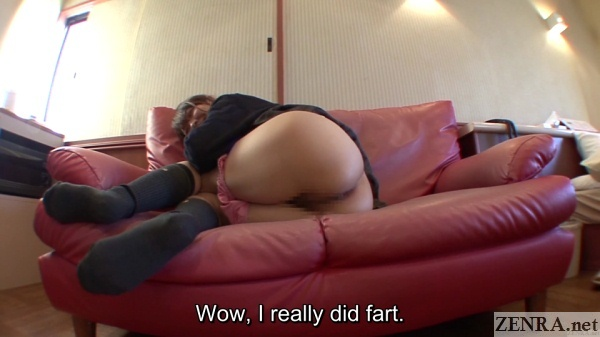 schoolgirl with panties down surprised about farting