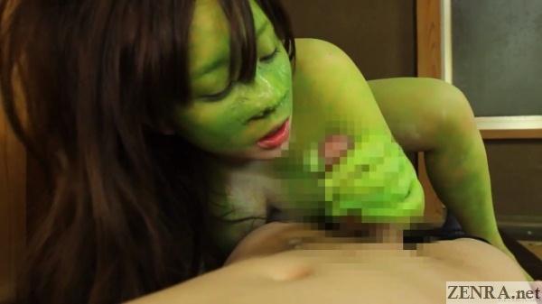 japanese pov handjob with green frog woman