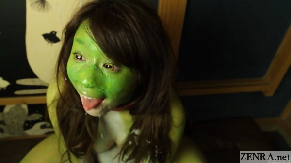 tongue out japanese frog woman after blowjob party