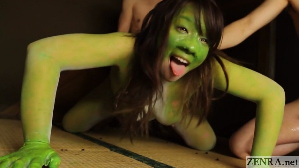 green frog woman threesome sex