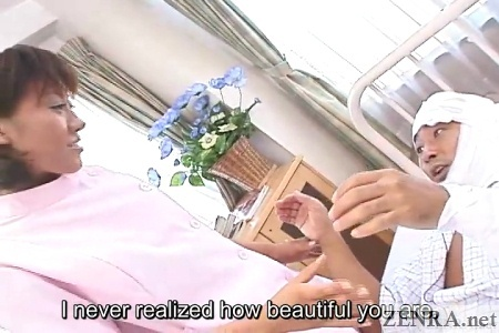 patient in awe at beauty of nurse