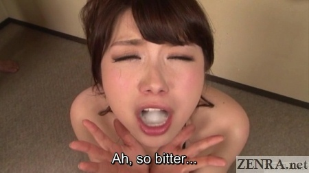 bitter japanese gokkun cum in mouth