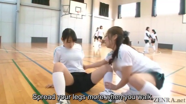 new teammate instructed to spread legs while crawling
