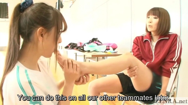 japanese volleyball hazing via lesbian toe licking