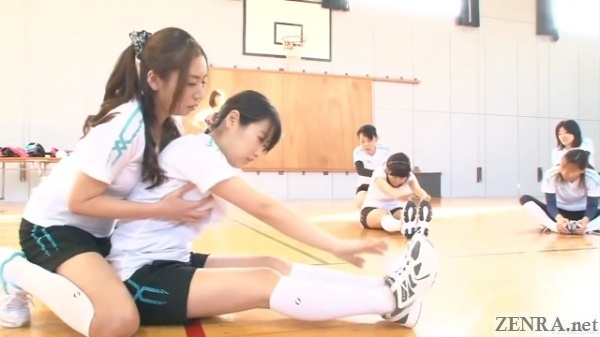 breast groping during stretching practice