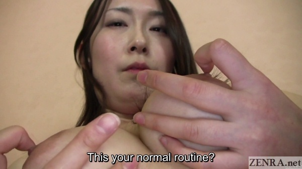 busty japanese amateur plays with breasts