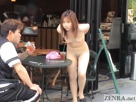 hayakawa momo strips naked in front of cafe