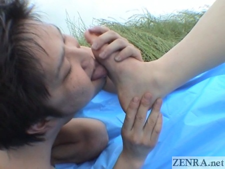 japanese foot licking outdoors