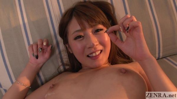 smiling naked hitomi kitagawa with semen on tits