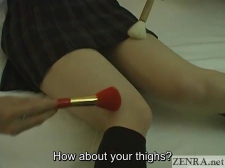japanese schoolgirl thighs tickled with brushes