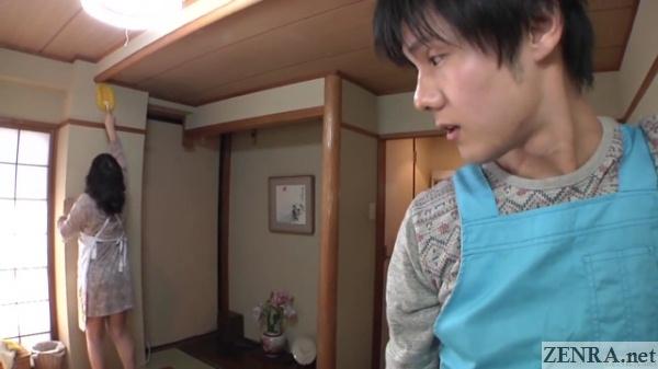 japanese man notices bigger older woman