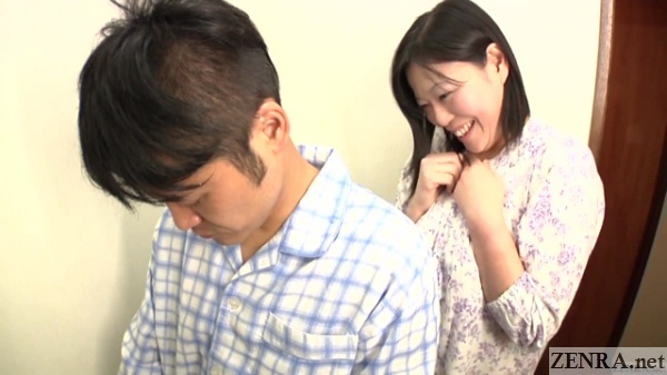 older japanese wife secretly watches peeing
