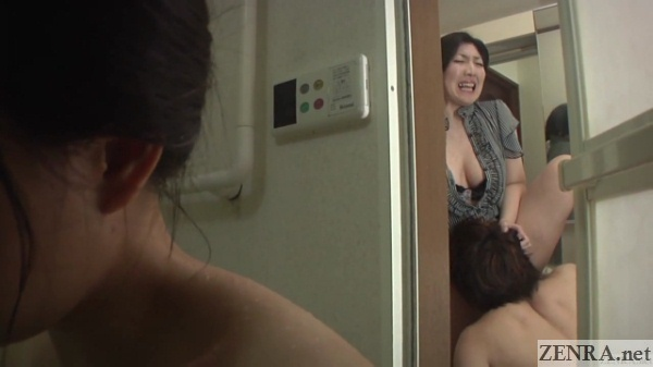 bbw japanese cougar eaten out in bathroom