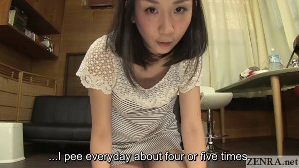 japanese woman in white dress urination interview