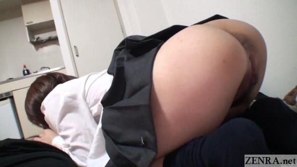 uncensored japanese schoolgirl butt in air for fellatio