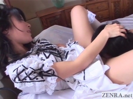 japanese woman receives oral sex from slave