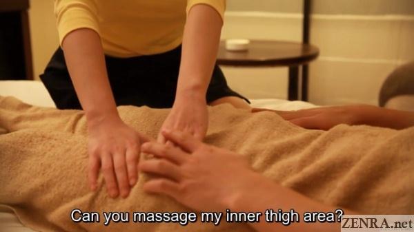 horny customer requests inner thigh massage