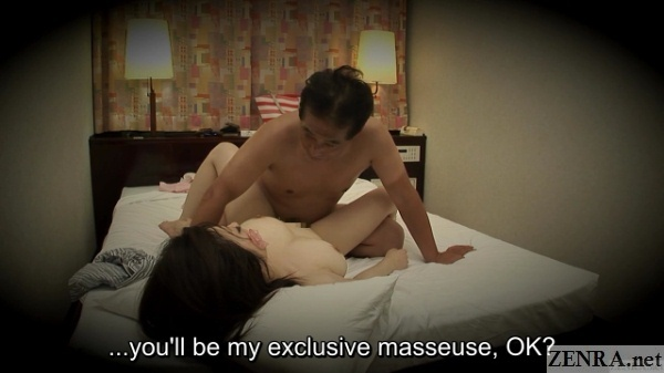 orgasmed japanese massage therapist with used condom on face