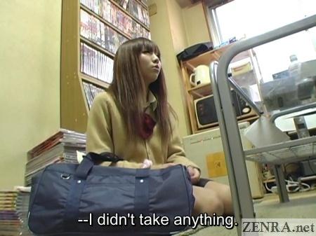 shoplifting japanese schoolgirl with clerk in break room