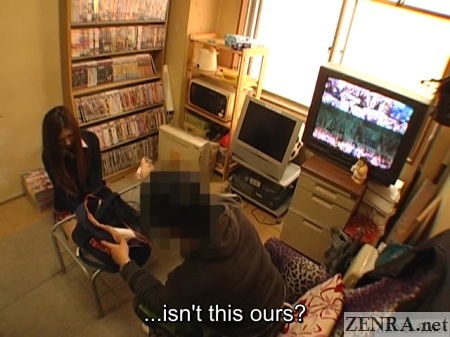 angry clerk with shoplifting schoolgirl in break room