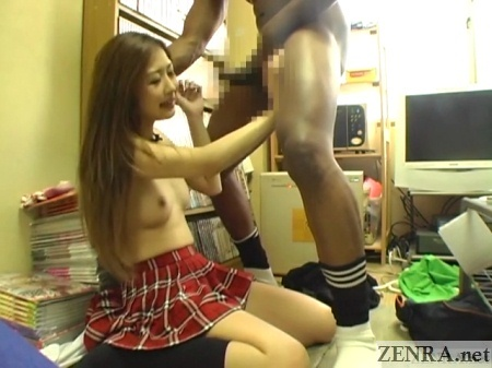 topless hibiki otsuki about to blow black man