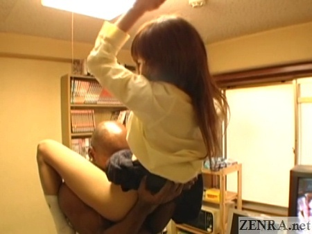 schoolgirl lifted up in air for oral sex