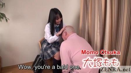 momo otsuka with devoted bald man