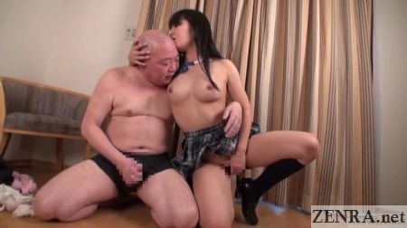 old man masturbates with help from japanese schoolgirl