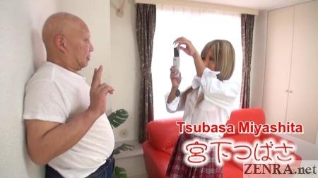 tsubasa miyashita taking pic of old man