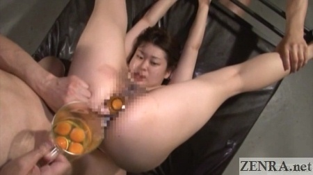 raw eggs emptied into japanese anal cavity