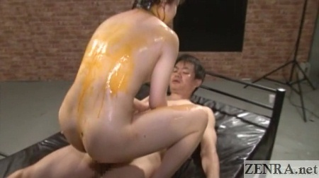 bareback japanese anal sex with egg yolks