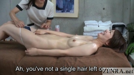 embarrassed oiled up japanese woman stripped stark naked