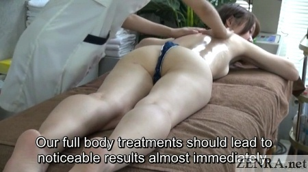 japanese oil massage for female client in thong
