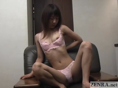 leggy japanese amateur strips out of lilac lingerie