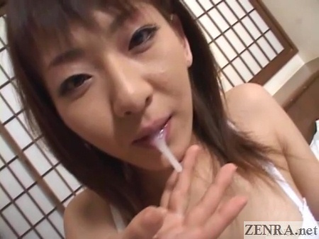 cum emptied from mouth of japanese wife