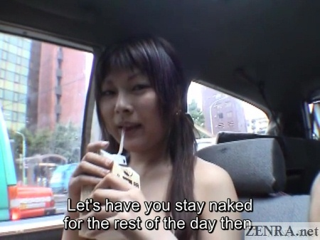 naked japanese av star drinks coffee in van